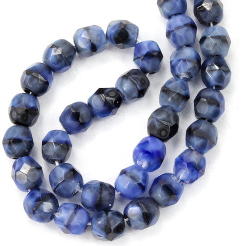 4mm Blue/Black Swirl Fire Polished Bead-General Bead
