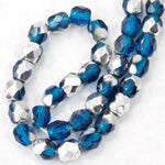 4mm Dark Aqua/Silver Fire Polished Bead-General Bead