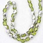 4mm Olivine/Silver Fire Polished Bead-General Bead
