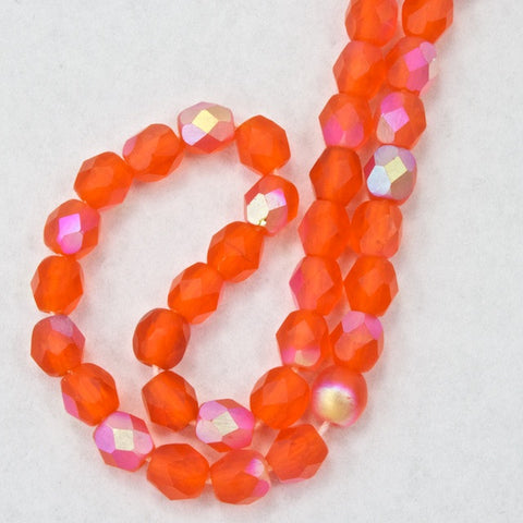 4mm Matte Orange AB Fire Polished Bead-General Bead