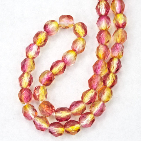 4mm Pink/Yellow Two Tone Fire Polished Bead-General Bead