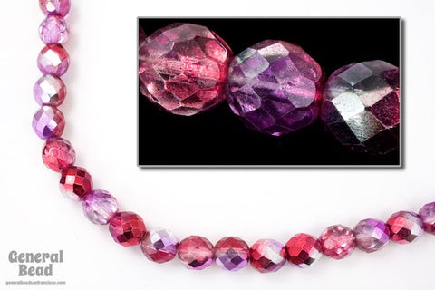 10mm Metallic Amethyst/Pink Two Tone Fire Polished Bead