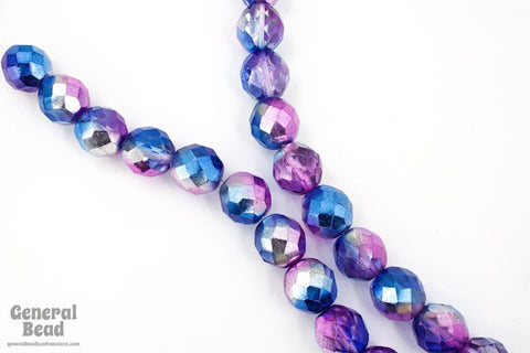 12mm Metallic Blue/Purple Two Tone Fire Polished Bead-General Bead
