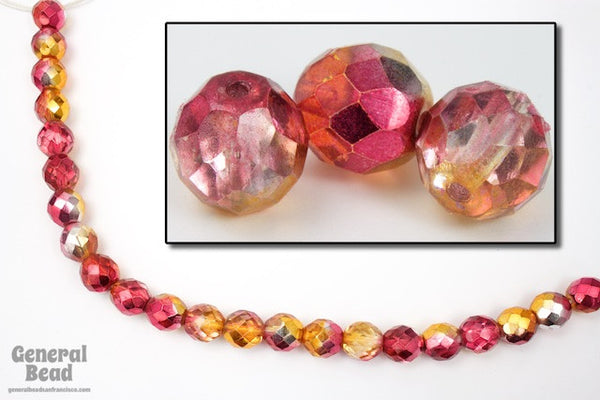 10mm Metallic Pink/Topaz Two Tone Fire Polished Bead