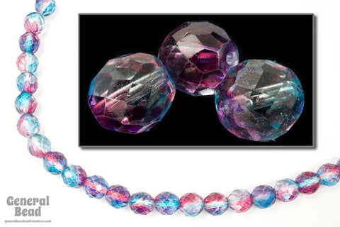 10mm Aqua/Pink Two Tone Fire Polished Bead