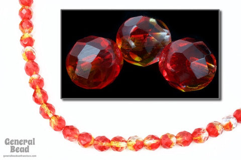 8mm Red/Topaz Two Tone Fire Polished Bead-General Bead