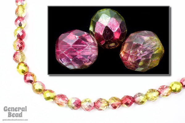 10mm Metallic Pink/Lemon Two Tone Fire Polished Bead
