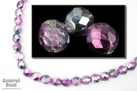 10mm Metallic Lavender/Purple Two Tone Fire Polished Bead