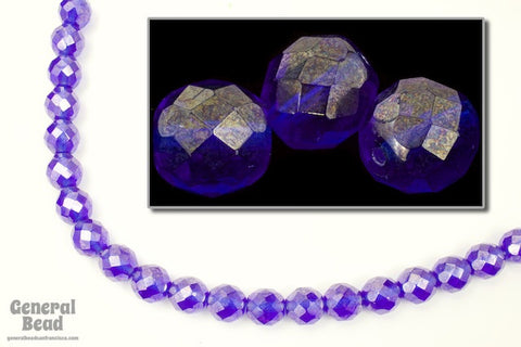 10mm Sapphire Luster Fire Polished Bead