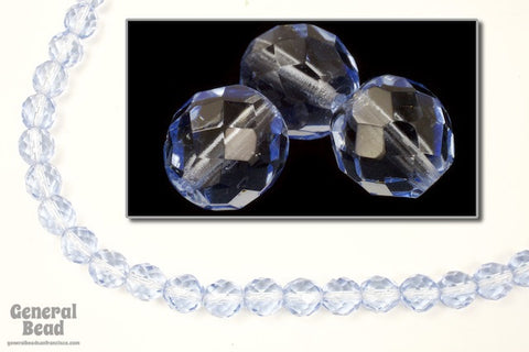 10mm Transparent Light Sapphire Fire Polished Bead