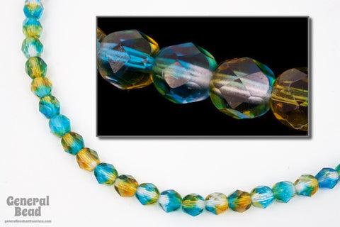 6mm Aqua/Topaz Two Tone Fire Polished Bead-General Bead