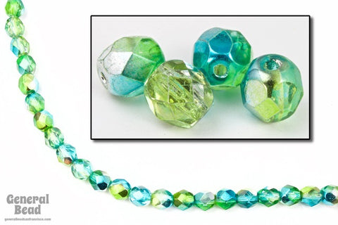 6mm Metallic Aqua/Lime Two Tone Fire Polished Bead-General Bead