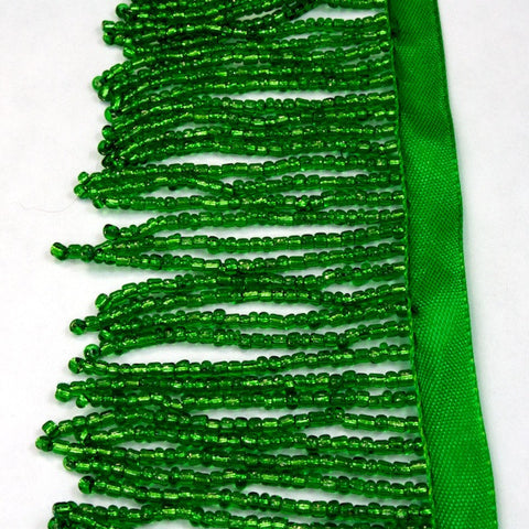 "Kelly Green 2"" Beaded Fringe"