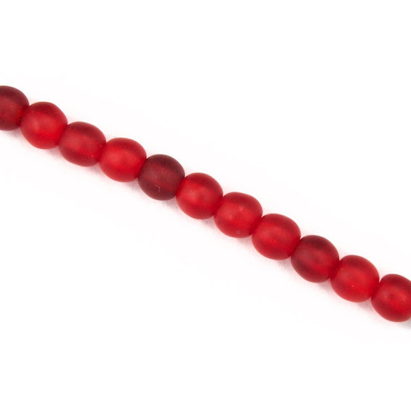 4mm Matte Ruby Druk Bead #GAB040