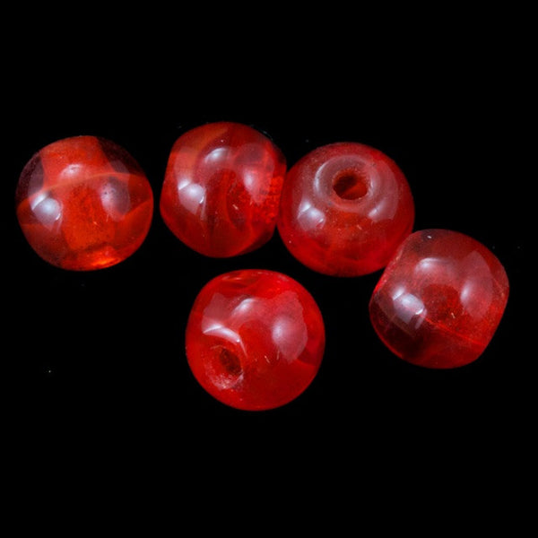4mm Transparent Chinese Red Druk Bead