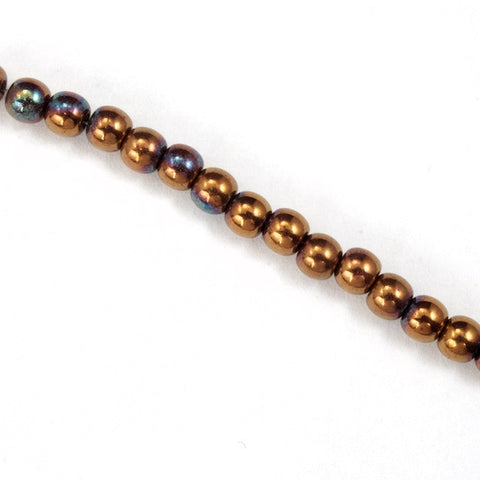 4mm Metallic Copper Iris Druk Bead
