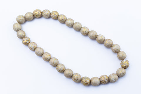6mm Opaque Beige/Gold Etched Druk Bead (30 Pcs) #GAE003-General Bead