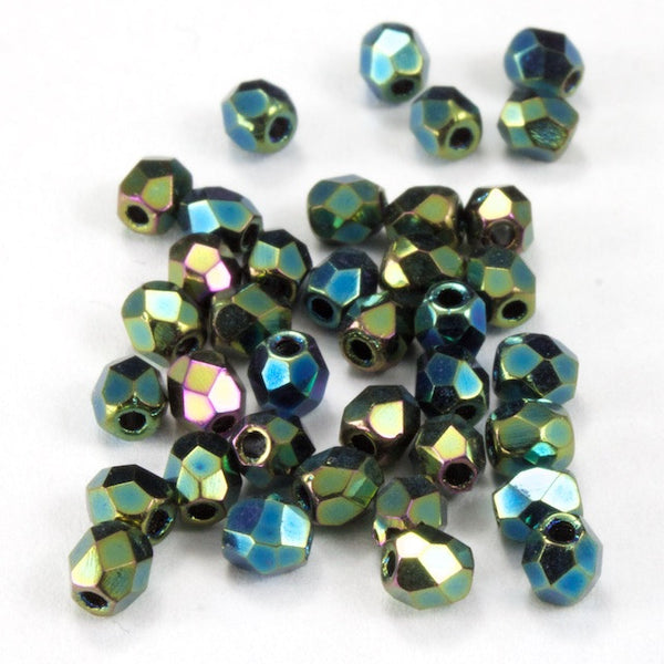 3mm Metallic Green Iris Fire Polished Bead