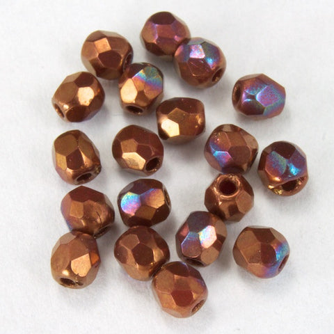 3mm Metallic Copper Iris Fire Polished Bead