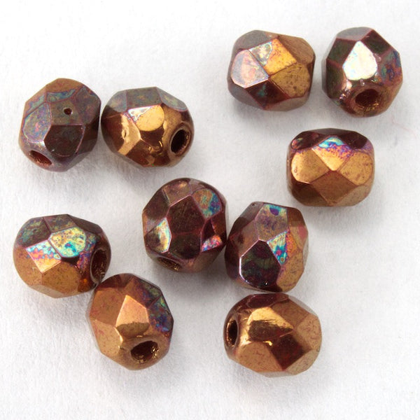 4mm Metallic Copper Iris Fire Polished Bead