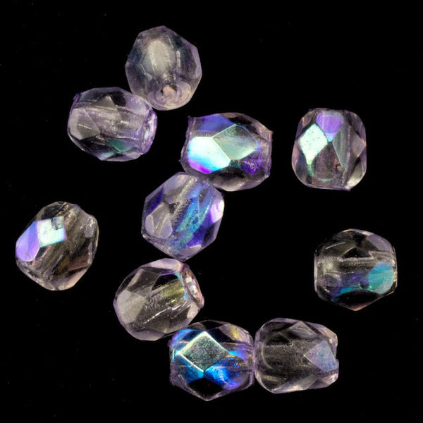 4mm Transparent Lilac AB Fire Polished Bead