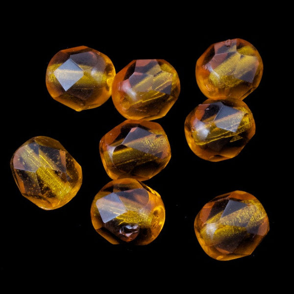 6mm Transparent Topaz Fire Polished Bead