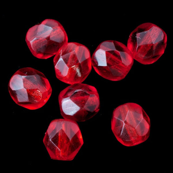 6mm Transparent Ruby Fire Polished Bead