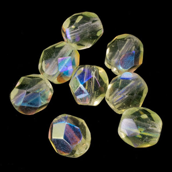 6mm Transparent Jonquil AB Fire Polished Bead