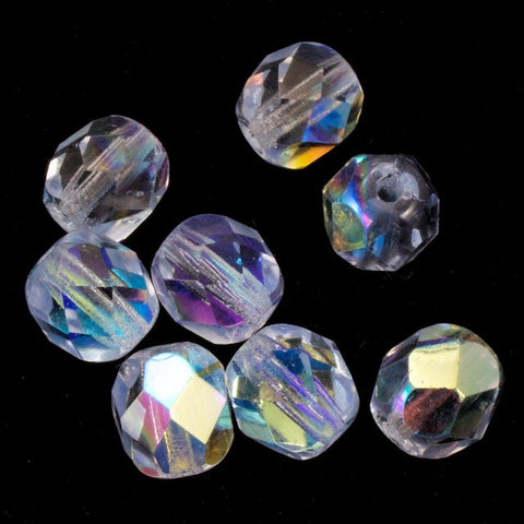6mm Transparent Light Sapphire AB Fire Polished Bead-General Bead