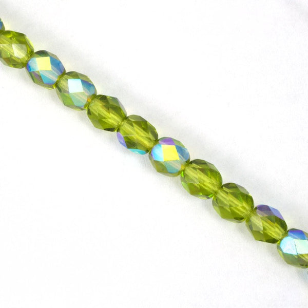 6mm Transparent Olivine AB Fire Polished Bead