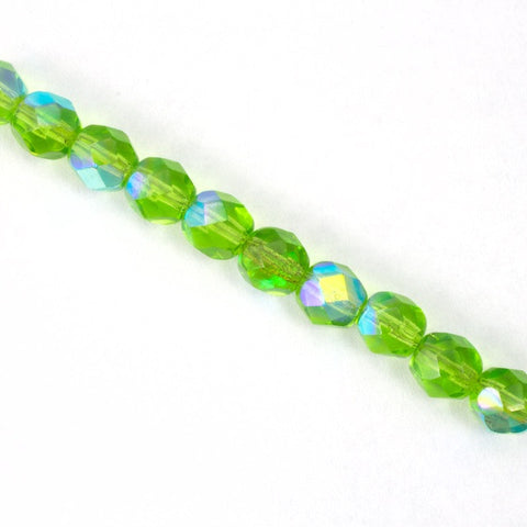 6mm Transparent Peridot AB Fire Polished Bead-General Bead