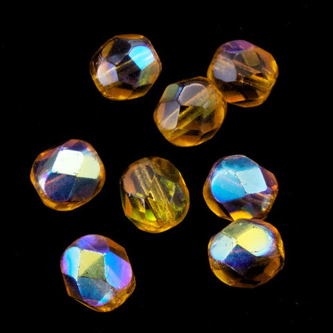 6mm Transparent Light Topaz AB Fire Polished Bead-General Bead