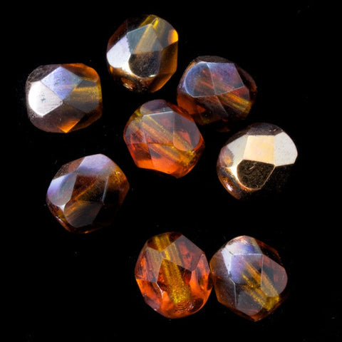 6mm Smoked Topaz/Gold Fire Polished Bead-General Bead