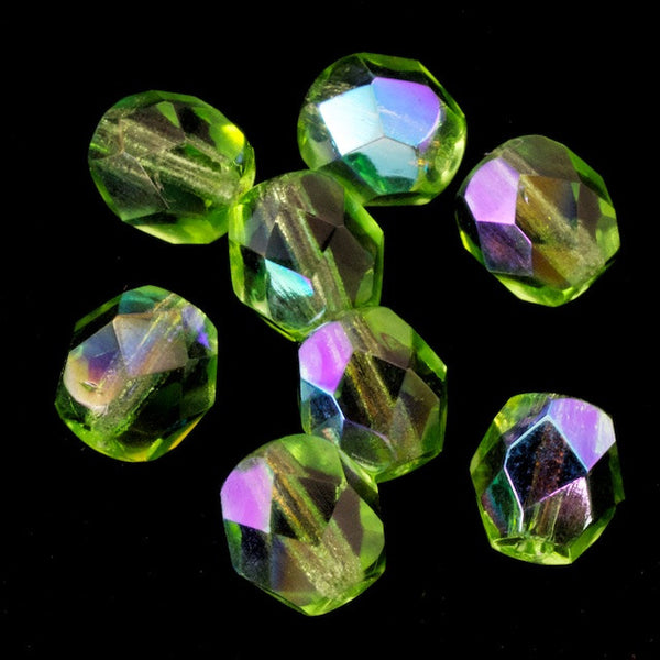 6mm Transparent Lime AB Fire Polished Bead