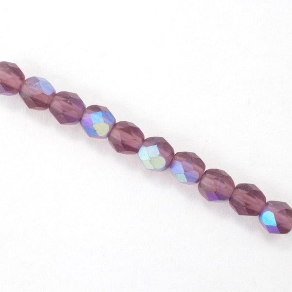 6mm Matte Amethyst AB Fire Polished Bead