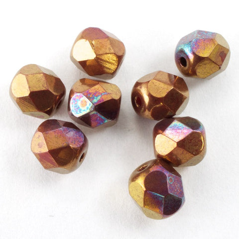 6mm Metallic Copper Iris Fire Polished Bead
