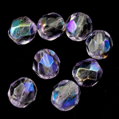 6mm Transparent Lilac AB Fire Polished Bead-General Bead