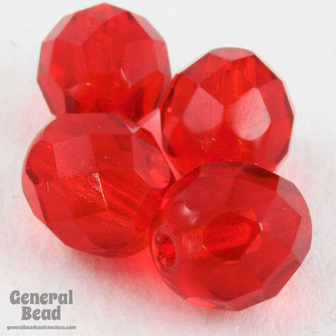 8mm Transparent Siam Fire Polished Bead