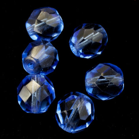 8mm Transparent Sapphire Fire Polished Bead (25 Pcs) #GBF020