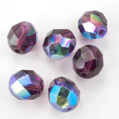 8mm Transparent Amethyst AB Fire Polished Bead-General Bead