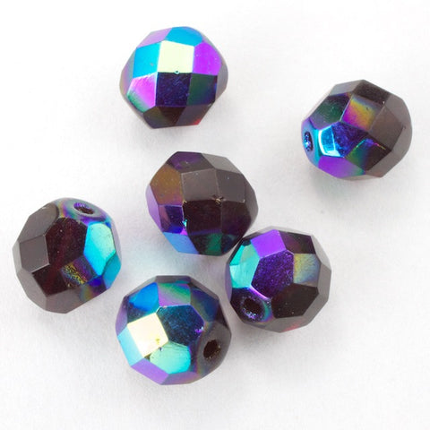8mm Transparent Garnet AB Fire Polished Bead-General Bead