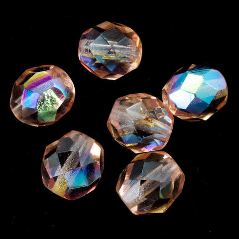 8mm Transparent Rose AB Fire Polished Bead-General Bead