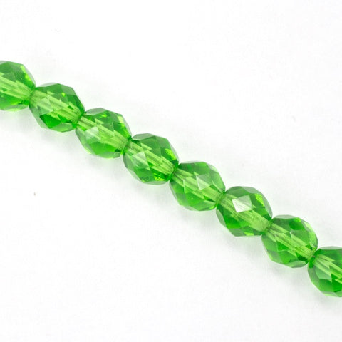 8mm Transparent Christmas Green Fire Polished Bead-General Bead