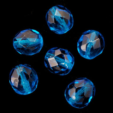 8mm Transparent Aqua Fire Polished Bead-General Bead