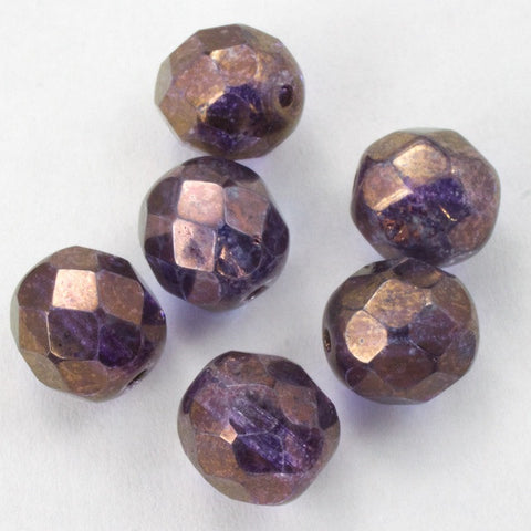 8mm Gold Luster Amethyst Fire Polished Bead-General Bead