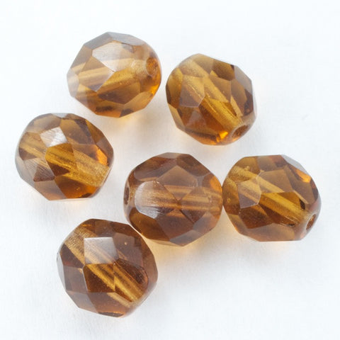 8mm Transparent Smoked Topaz Fire Polished Bead