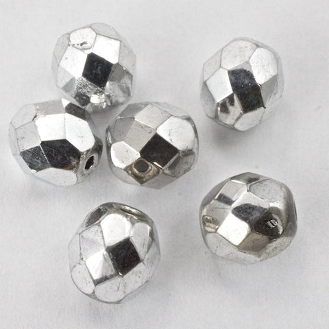 8mm Metallic Silver Fire Polished Bead-General Bead