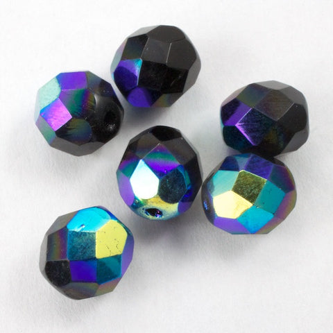 8mm Jet AB Fire Polished Bead-General Bead