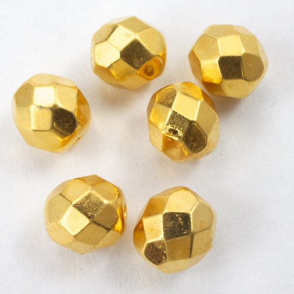 8mm 24 Kt. Gold Fire Polished Bead