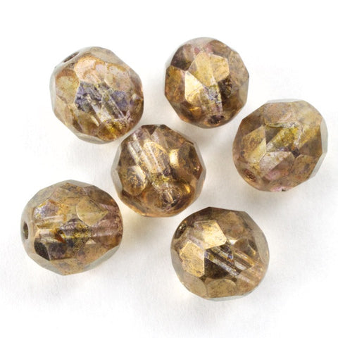 8mm Gold Luster Light Gold Fire Polished Bead-General Bead